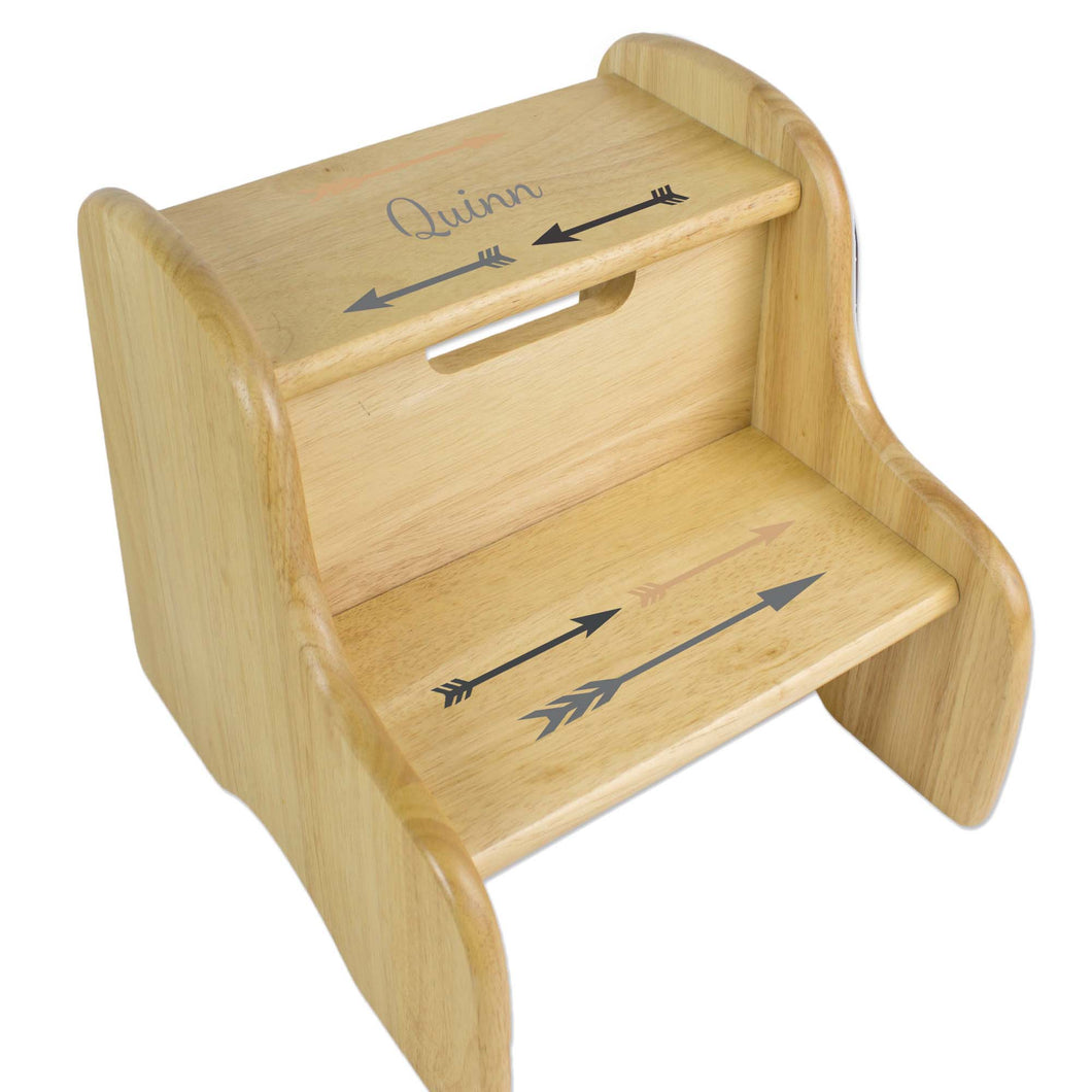 Personalized Arrows Gold And Grey Natural Two Step Stool