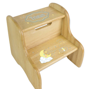 Personalized Natural Two Step Stool With Moon And Stars Design