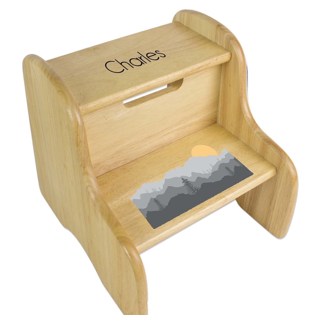 Personalized Natural Two Step Stool With Misty Mountain Design