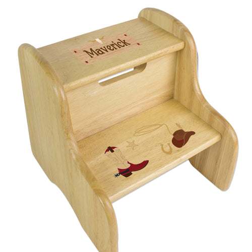 Personalized Wooden Step Stool With Wild West Design