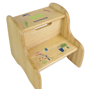 Gone Fishing Natural Wood Two Step Stool