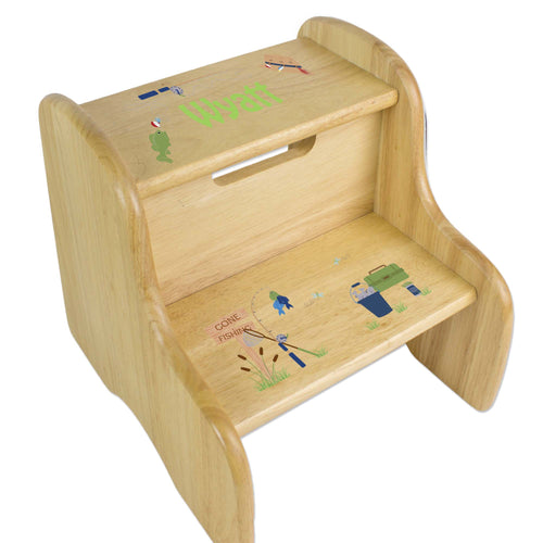 Personalized Gone Fishing Natural Two Step Stool