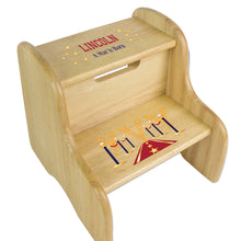 A Star is Born Red Natural Wood Two Step Stool