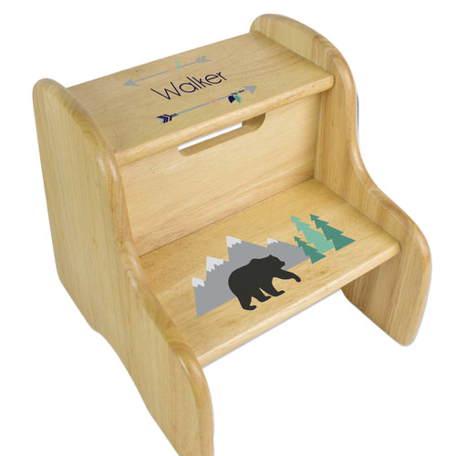 Personalized Mountain Bear Natural Two Step Stool