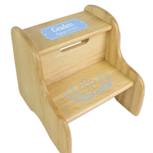 Lt Blue Cross Natural Wood Two Step Stool