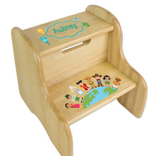Personalized Small World Natural Two Step Stool