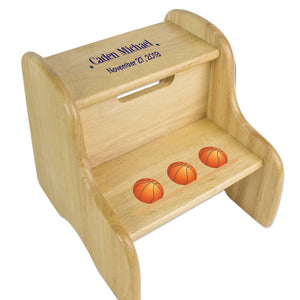 Basketball Natural Wood Two Step Stool