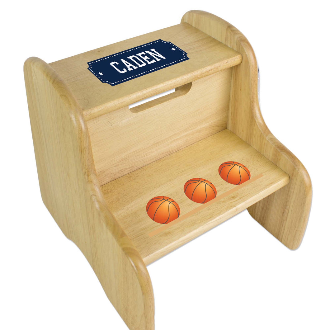 Personalized Basketballs Natural Two Step Stool