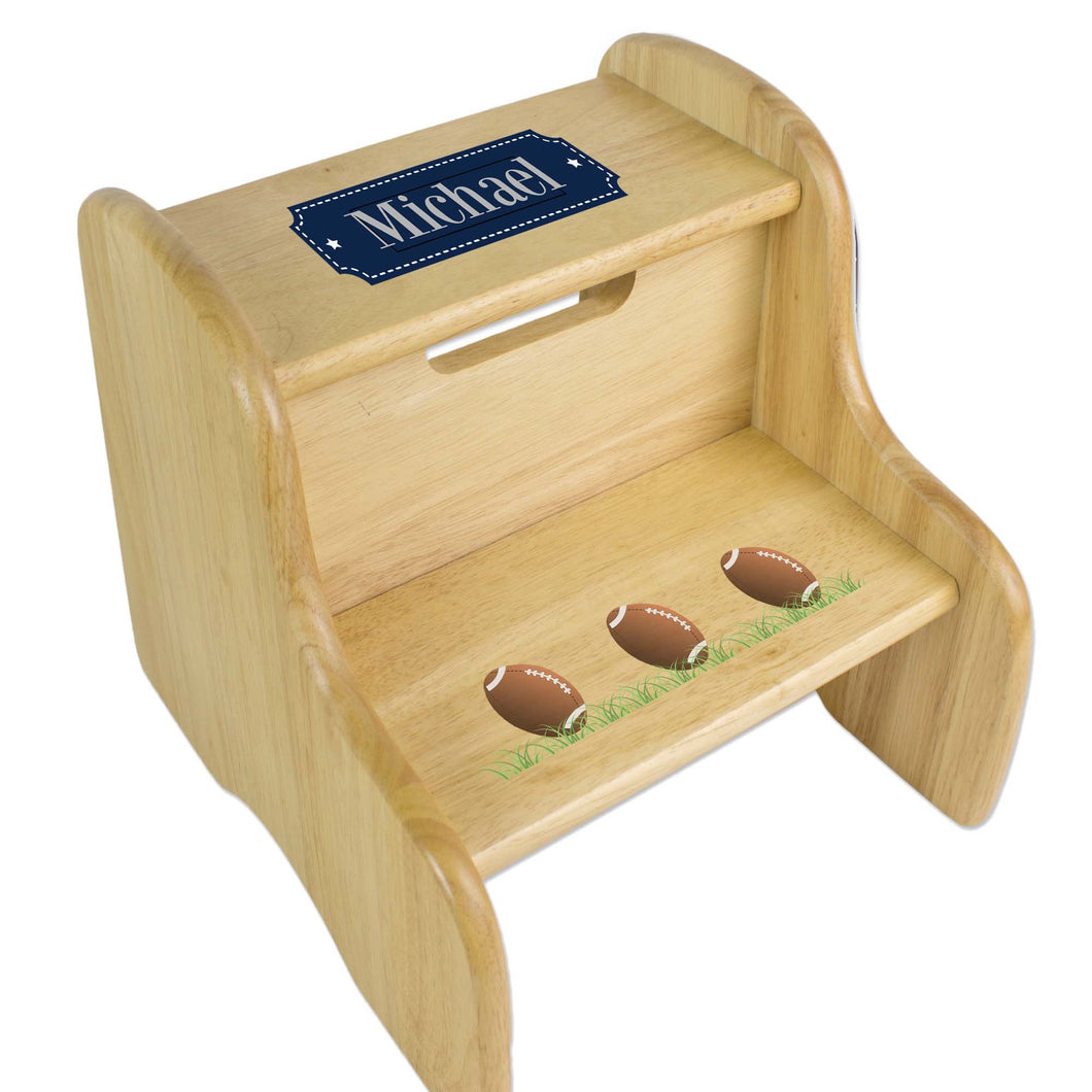 Personalized Footballs Natural Two Step Stool