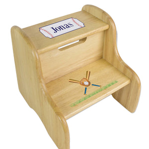 Personalized Baseball Natural Two Step Stool