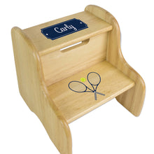 Personalized Tennis Natural Two Step Stool
