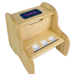 Personalized Volleyballs Natural Two Step Stool