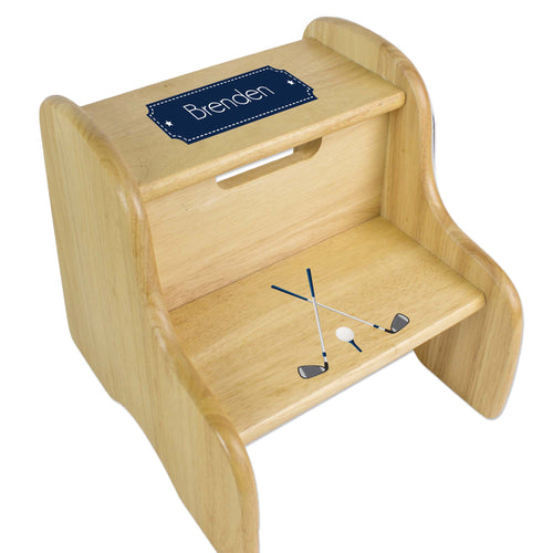 Personalized Golf Natural Two Step Stool