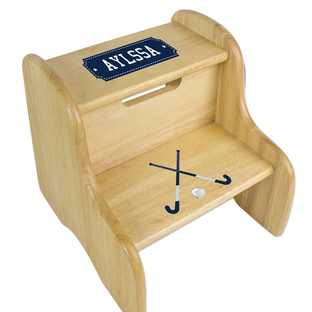 Personalized Field Hockey Natural Two Step Stool
