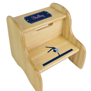 Personalized Gymnastics Natural Two Step Stool