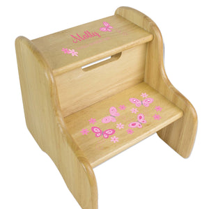 Pink Butterflies Wood Two Step Stool