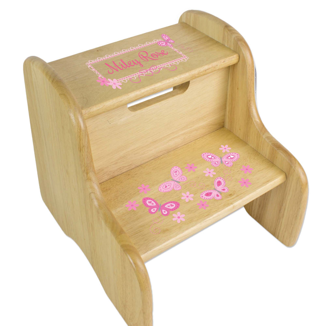 Personalized Natural Two Step Stool With Pink Butterflies Design