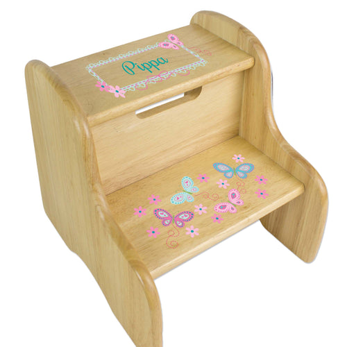 Personalized Natural Two Step Stool With Aqua Butterflies Design