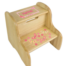 Personalized Natural Two Step Stool With Yellow Butterflies Design