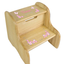 Pink Gray Butterfly Garland Wood Two Step Stool