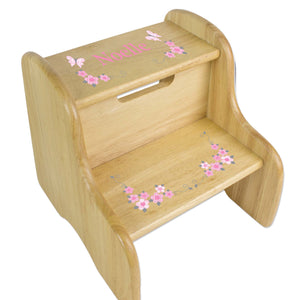 Personalized Pink And Gray Butterflies Natural Two Step Stool