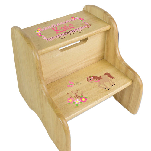 Personalized Ponies Prancing Natural Two Step Stool