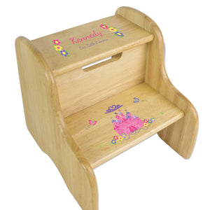 Princess Castle Natural Wood Two Step Stool