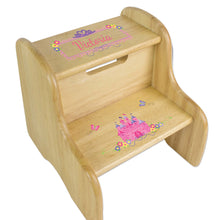 Personalized Princess Castle Natural Two Step Stool