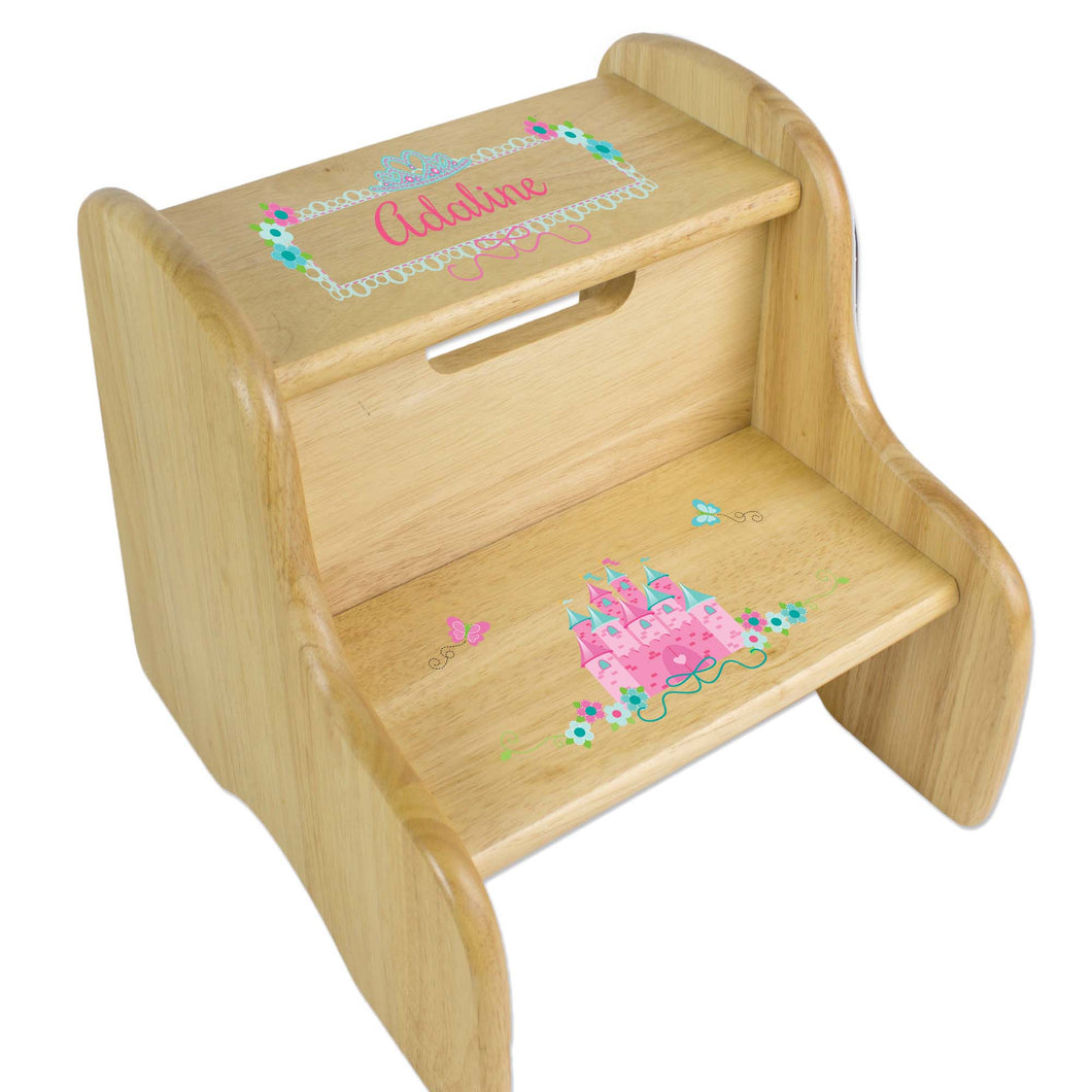 Personalized Pink Teal Princess Castle Natural Two Step Stool