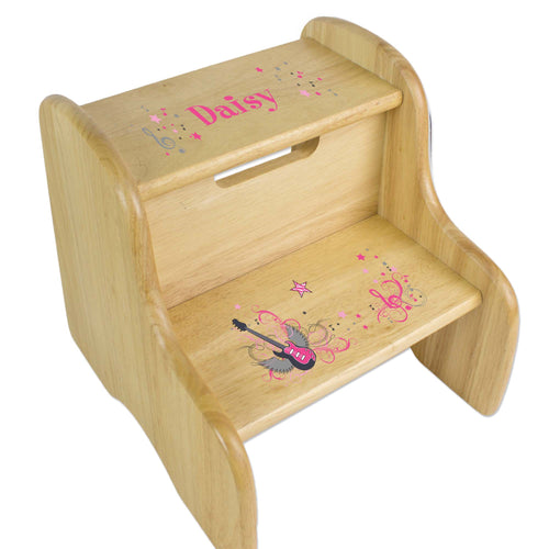 Personalized Pink Rock Star Natural Two Step Stool