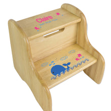 Personalized Pink Whale Natural Two Step Stool