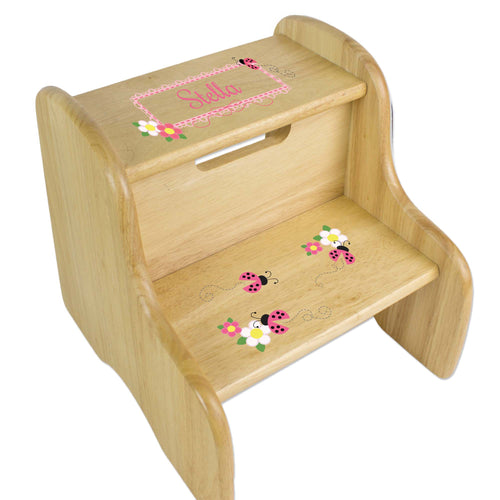 Personalized Pink Ladybugs Natural Two Step Stool