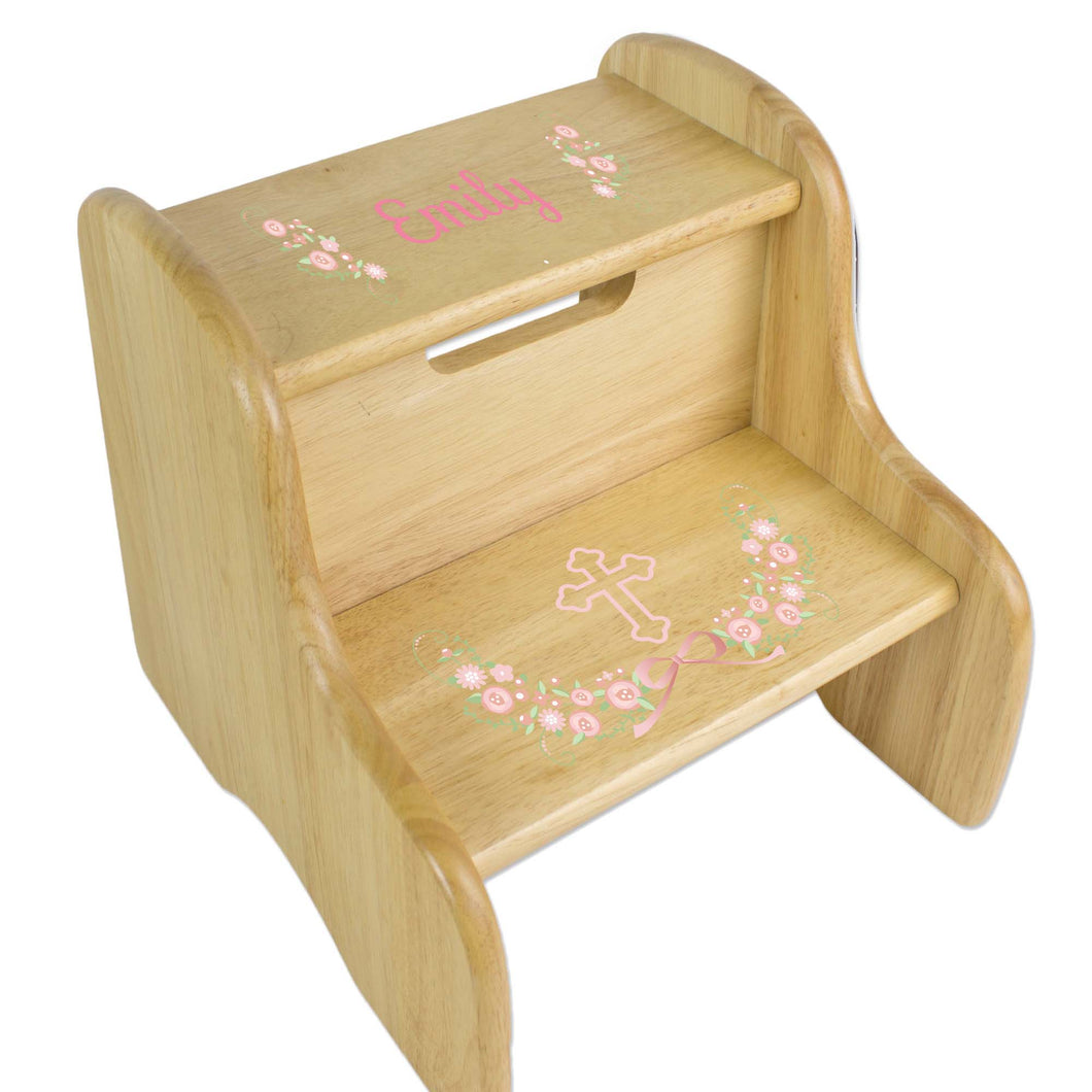 Personalized Floral Garland First Communion Natural Two Step Stool