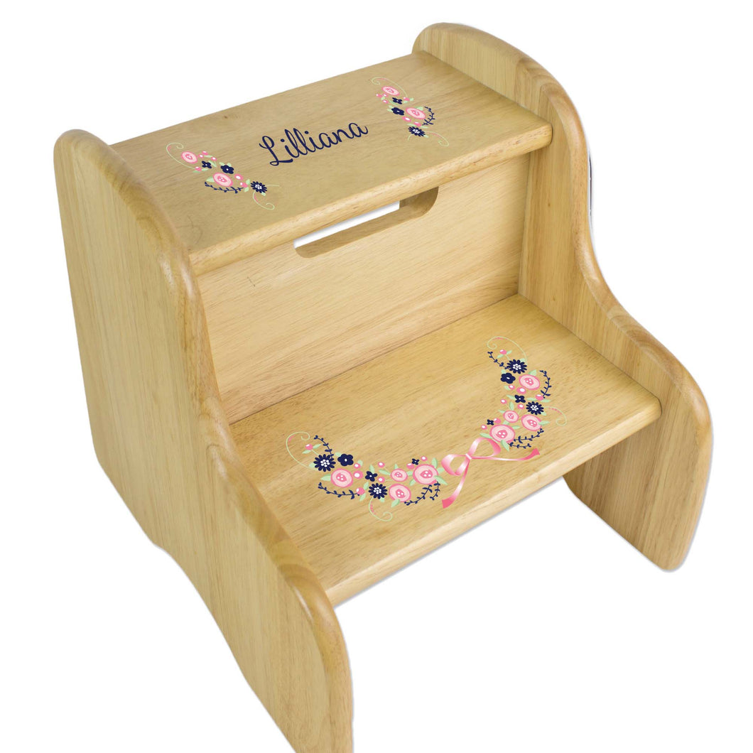 Personalized Navy Pink Floral Garland Natural Two Step Stool