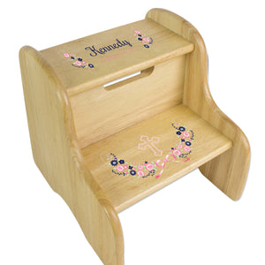 Navy Pink Floral Cross Natural Wood Two Step Stool