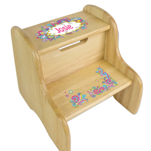 Personalized Groovy Swirl Natural Two Step Stool