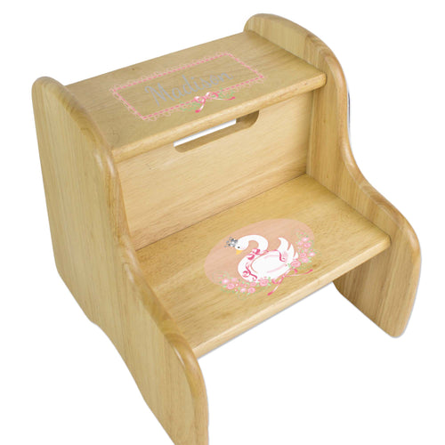Personalized Swan Natural Two Step Stool