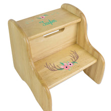 Personalized Floral Antler Natural Two Step Stool