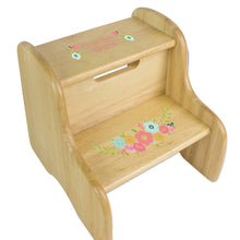 Spring Floral Natural Wood Two Step Stool