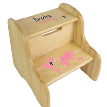 Pink World Map Natural Wood Two Step Stool