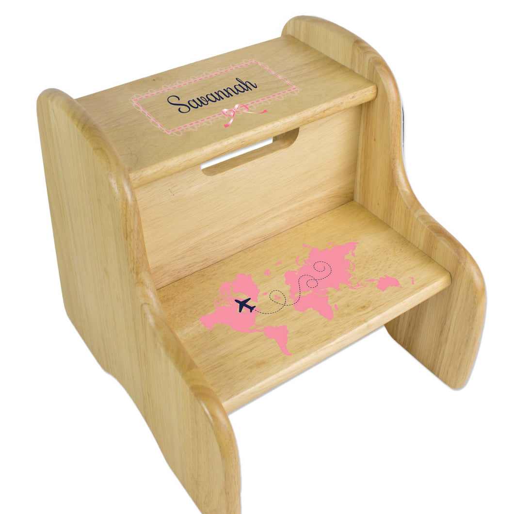 Personalized World Map Pink Natural Two Step Stool