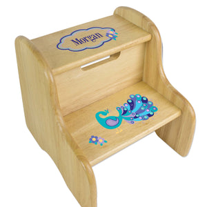 Personalized Peacock Natural Two Step Stool