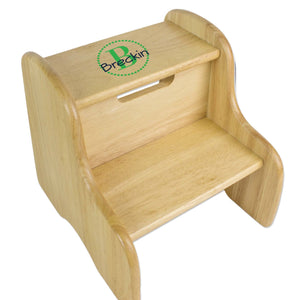 Personalized Natural Fixed Stool With Green Circle Design