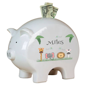 Personalized Safari Animals Piggy Bank