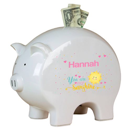 Personalized You Are My Sunshine Piggy Bank
