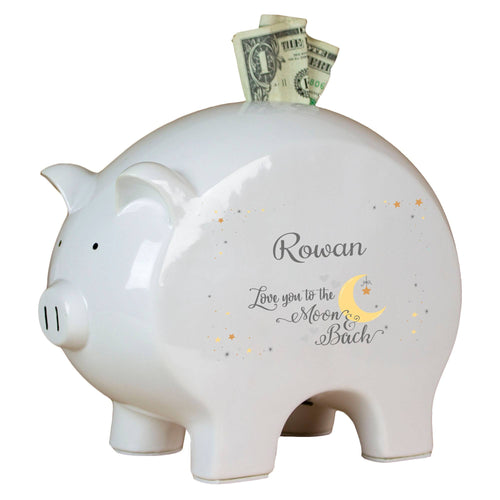 Personalized Moon and Back Piggy Bank