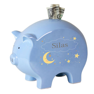 Personalized Celestial Moon Blue Piggy Bank