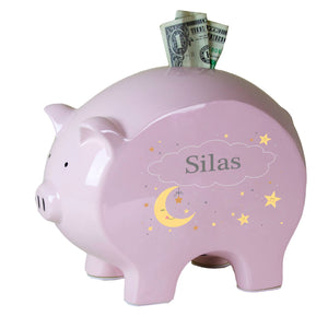 Personalized Celestial Moon Pink Piggy Bank