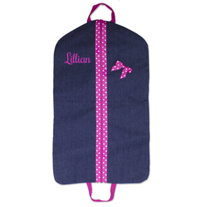 Embroidered Pink Denim Garment Bag