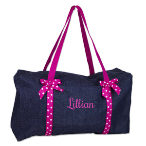 Embroidered Pink Denim Duffle - MyB